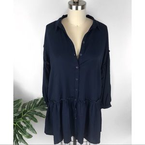Navy ❤️Free People❤️ Ruffle Tunic Dress